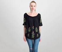 Karen Kane Embroidered Off-The-Shoulder Top, Black
