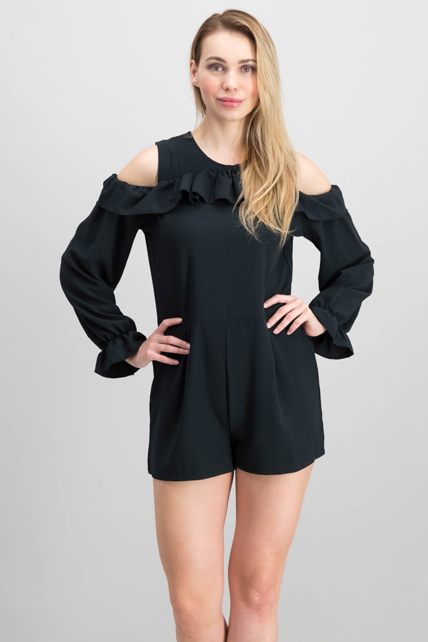 Juniors Ruffled Cold-Shoulder Playsuit, Black