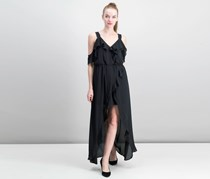 Women Juniors Ruffled Cold-Shoulder Dress, Caviar