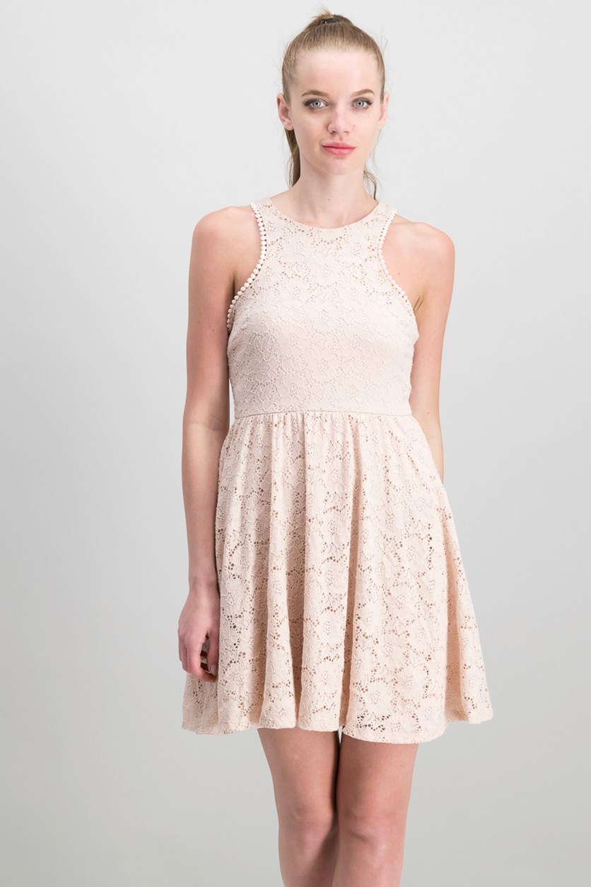 Juniors Lace Fit & Flare Dress, Blush