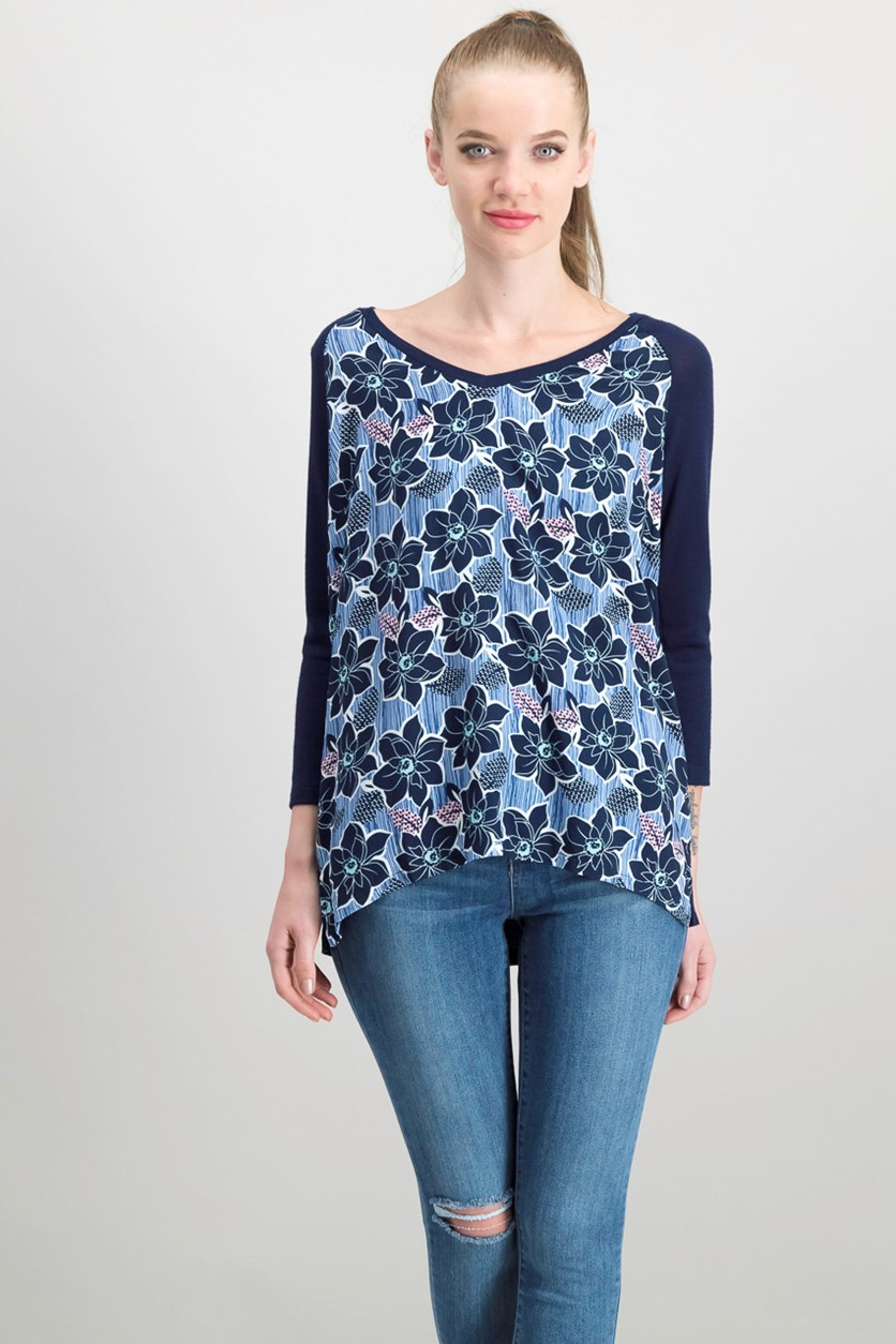 Women's Floral Print Top, Navy Blue