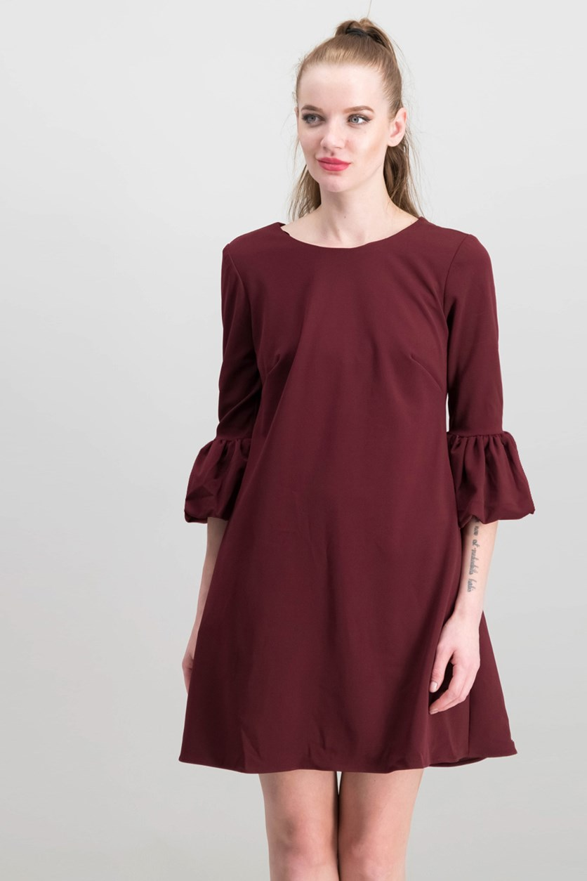 Betsy Adam Petite Puff-Sleeve Fit & Flare, Burgundy