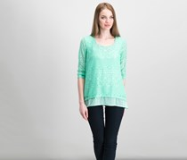 JM Collection Petite Layered-Look Lace Tunic, Mint Julip