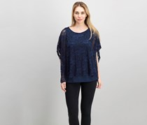JM Collection Lace-Overlay Poncho-Sleeve Top, Intrepid Blue