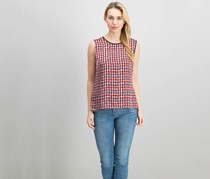 Kasper Printed Satin Shell Top, Fire Red