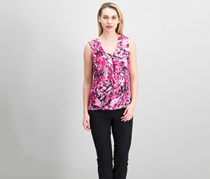 Women Floral Print V-neck Top, Pink Perfection