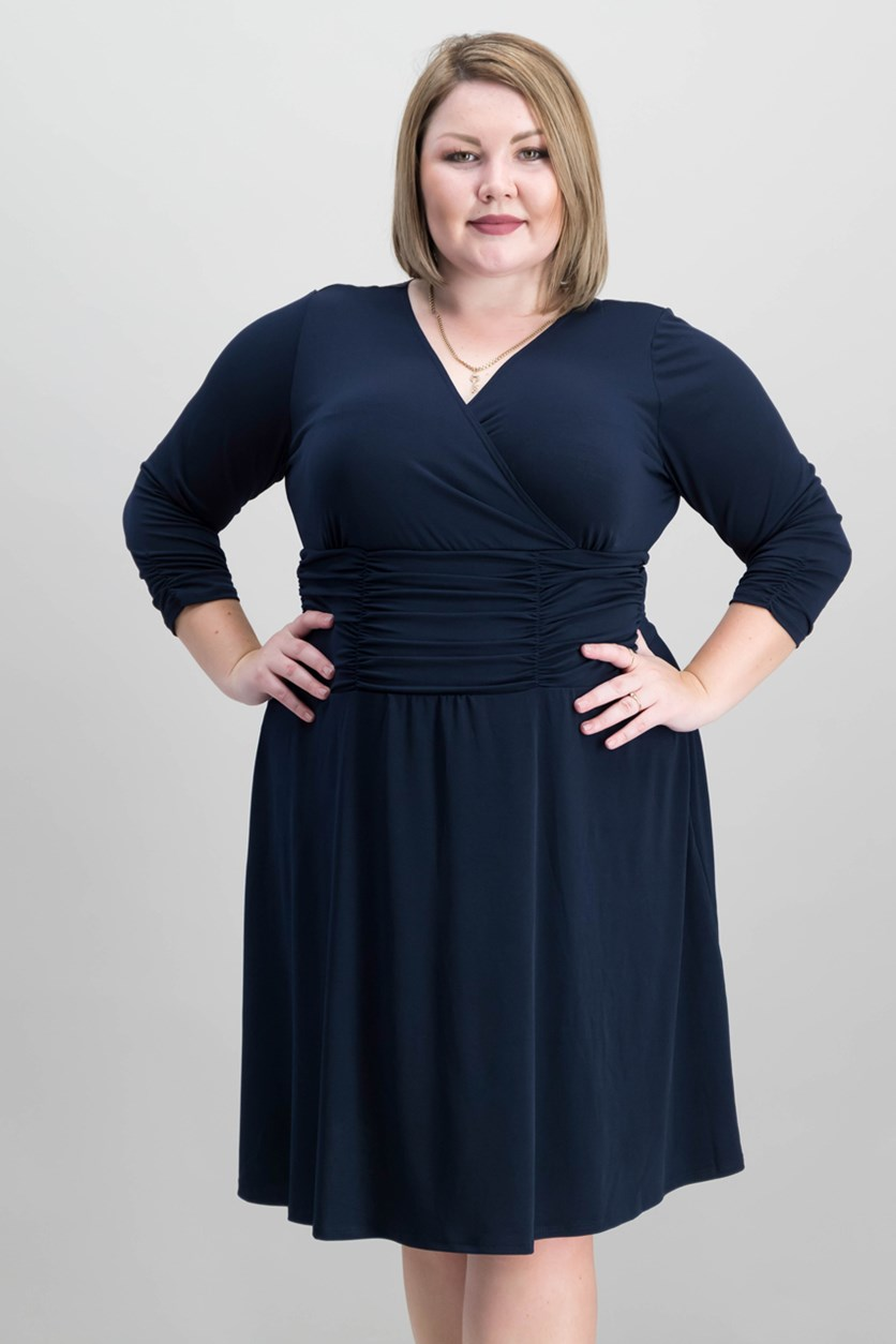 Plus Size Ruched A-Line Dress, Navy