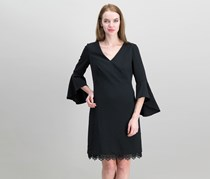 Ralph Lauren Crepe Bell-Sleeve Dress, Black