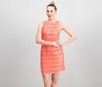 Ralph Lauren Lace-Mesh Sleeveless Cocktail Dress, Coral