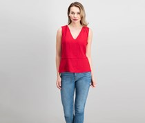 Maggy London Vneck Top, Apple Red