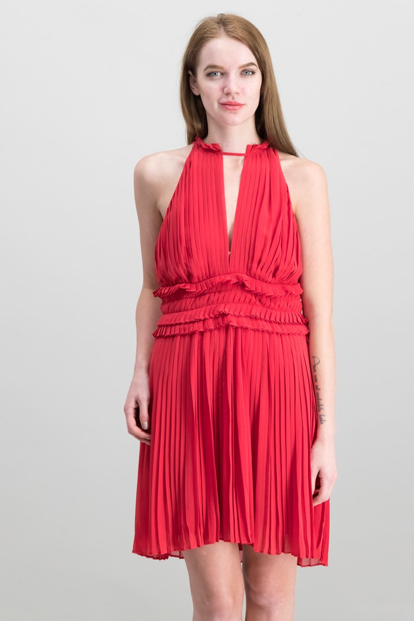 London Pleated Crepe Dress, Rouge Red