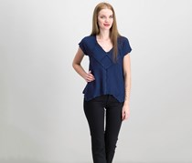 Women Handkerchief-Hem Top, Navy