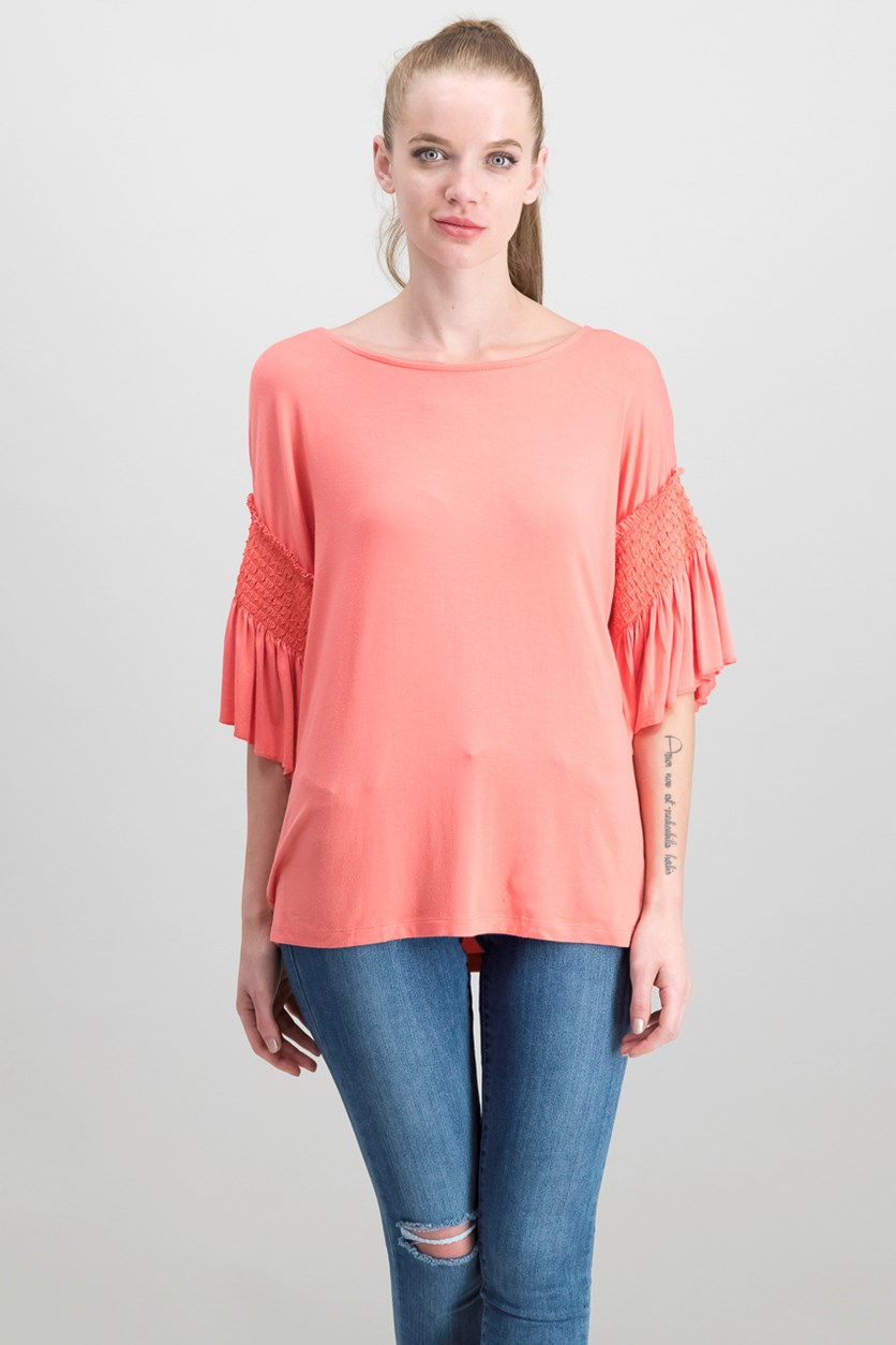 Ruffled 3/4-Sleeve T-Shirt, Coral Bead