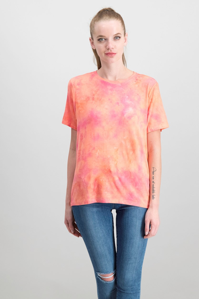 Crew-Neck Tie-Dye T-Shirt, Bright Coral Combo