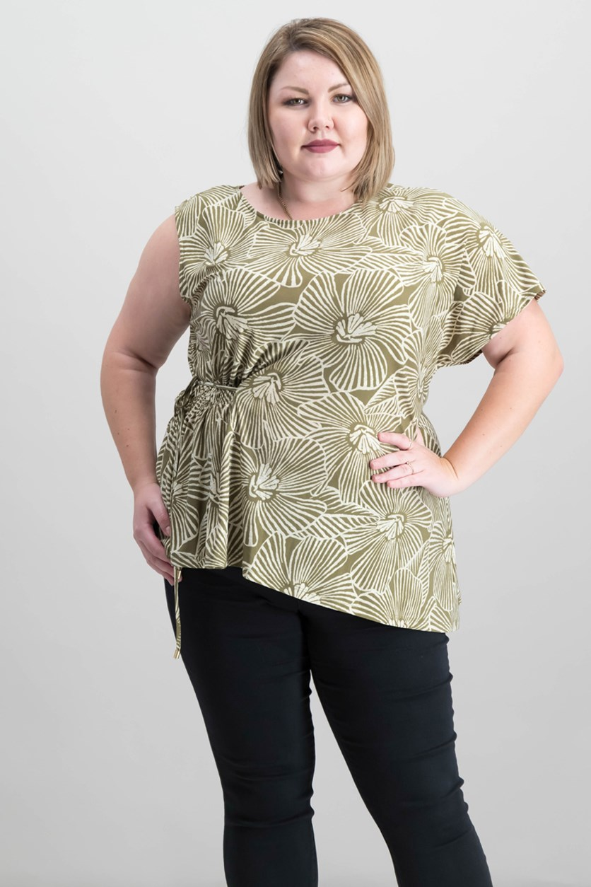 Printed Asymmetrical Top, Military Green