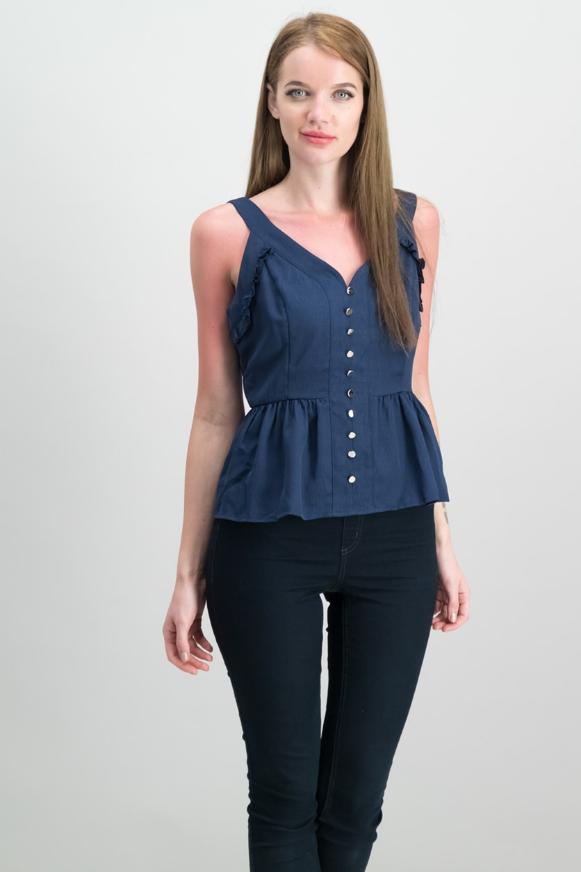 Women Sweetheart-Neck Peplum Top, Blue Notte
