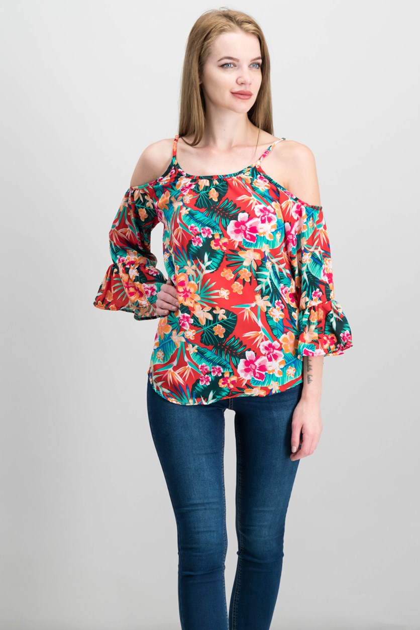 7 Sisters Juniors' Printed Cold-Shoulder Blouse, Red Floral