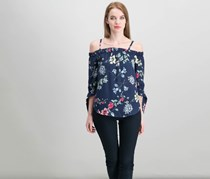Bcx Juniors Off-The-Shoulder Peasant Top, Navy Combo