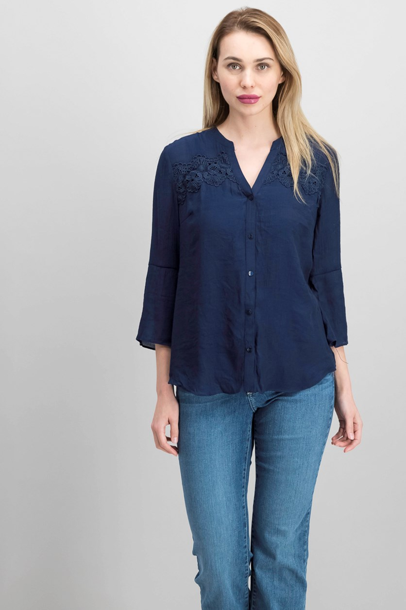 Juniors' Bell-Sleeve Button-Up Shirt, Navy