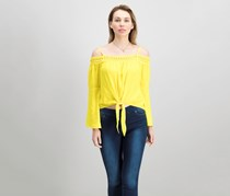 BCX Juniors Bell-Sleeve Off-The-Shoulder Top, Sunshine Yellow