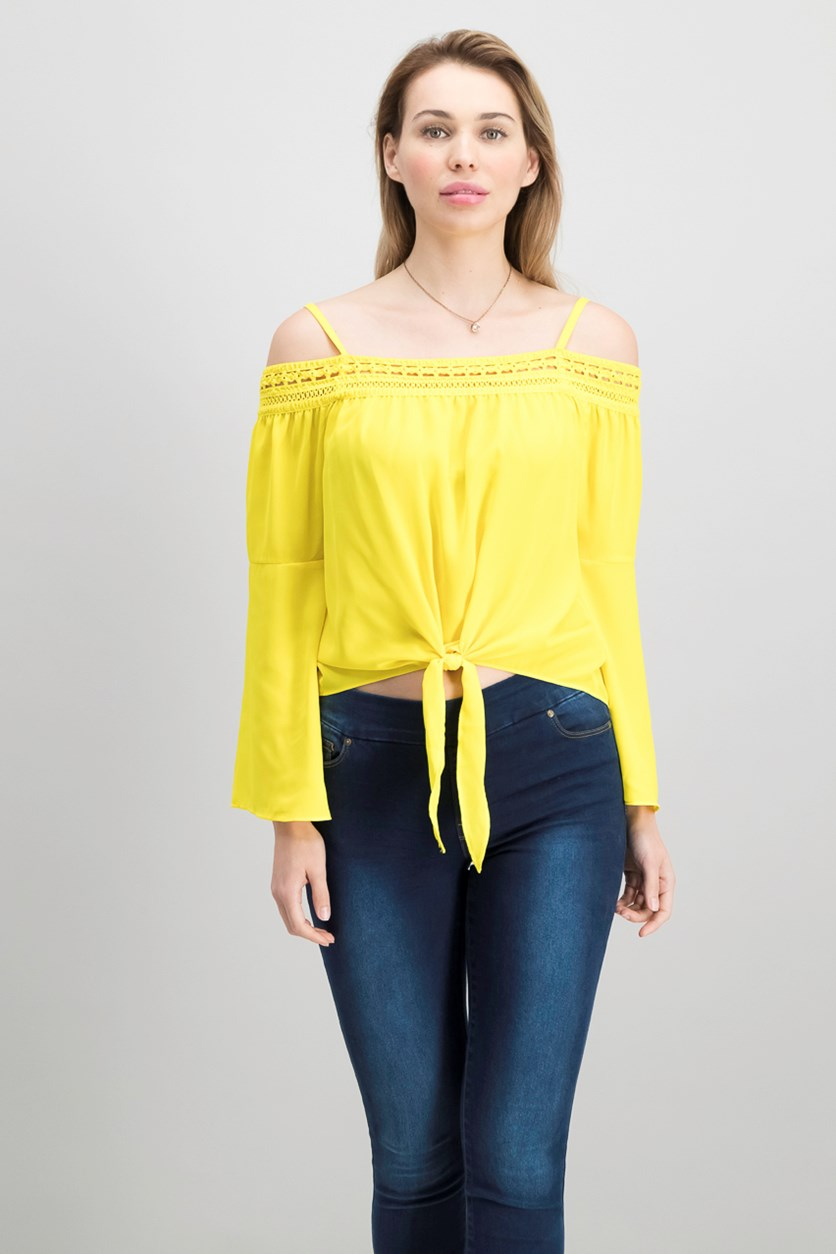 Juniors Bell-Sleeve Off-The-Shoulder Top, Sunshine Yellow