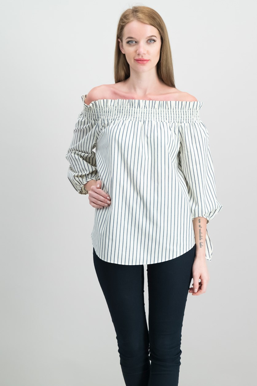 Women's Striped Off Shoulder Top, Cream