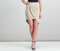 Kensie Faux-Suede Asymmetrical Skirt, Taupe