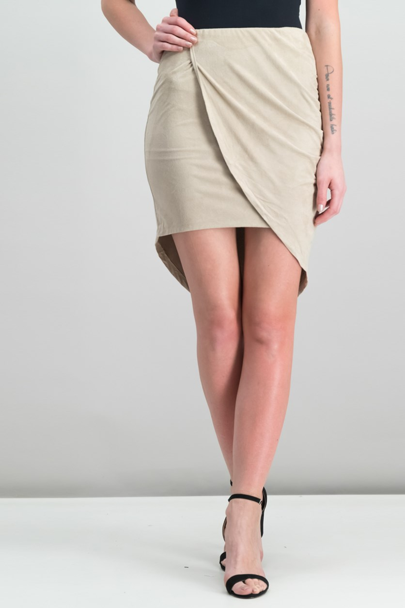 Faux-Suede Asymmetrical Skirt, Taupe