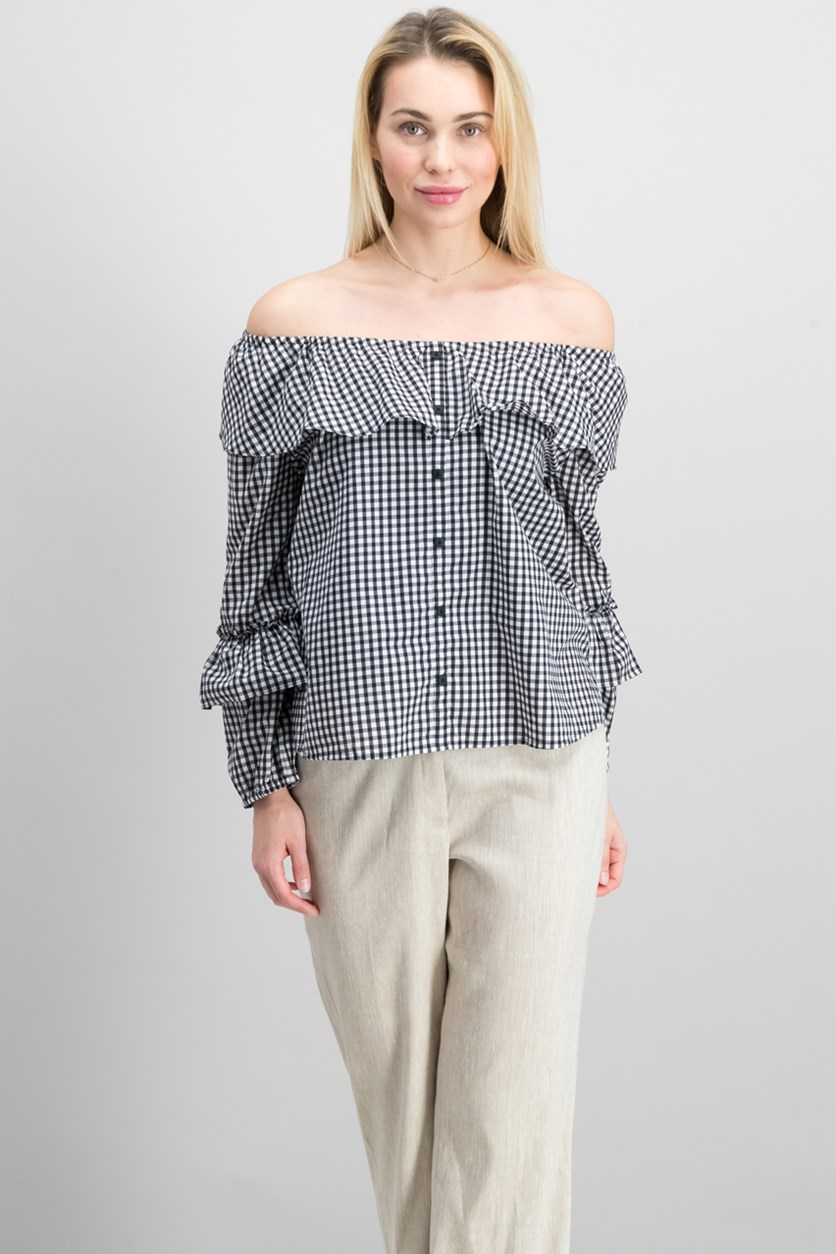 Women Gingham Off-The-Shoulder Top, Black/White