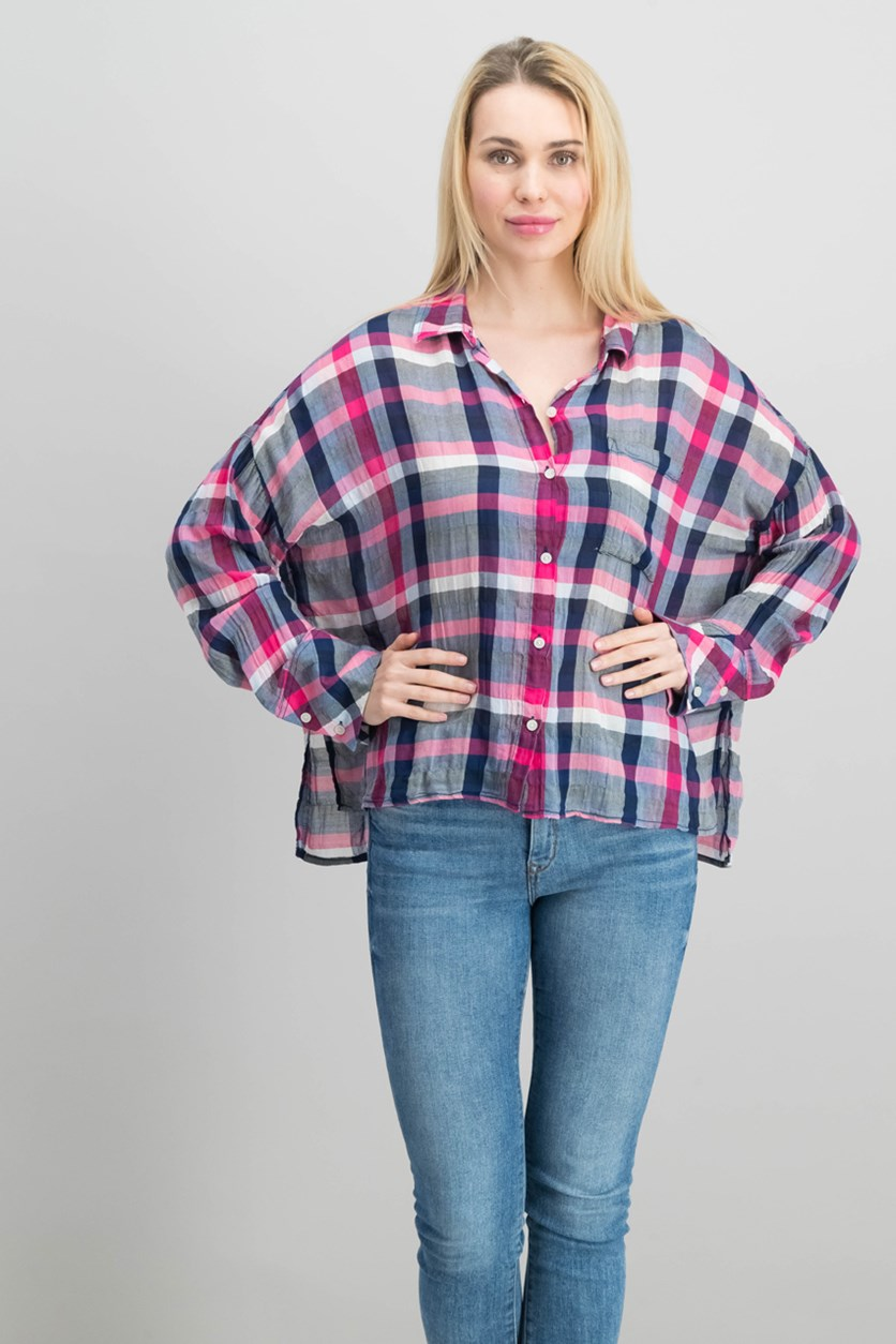 Women's Cotton Checked Plaid Shirt, Red/Navy