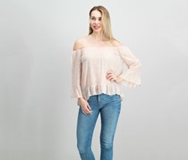 Julia Printed Off-The-Shoulder Top, Cameo Pink Sprout