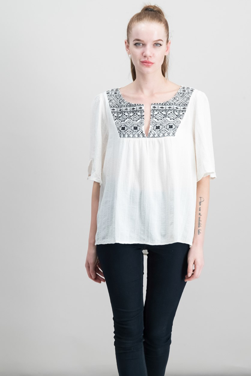 Women Zambia Cotton Embroidered Top, Light Dune