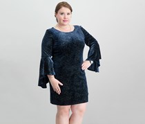Jessica Howard Bell-Sleeve Sparkle Dress, Navy