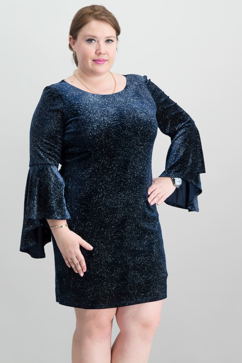 Bell-Sleeve Sparkle Dress, Navy
