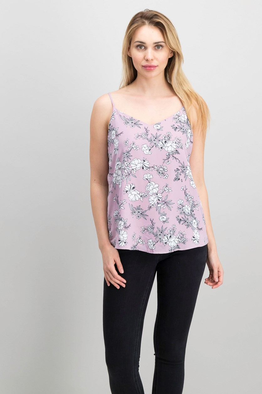Juniors' V-Neck Tank Top, Mauve