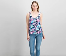 Hippie Rose Juniors Strappy-Back Tank Top, Blue Leaf