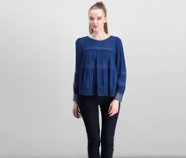Beltaine Womens Navy Lace Inset Tops, Navy