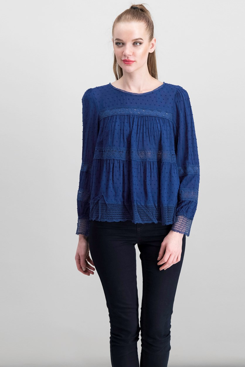 Womens Navy Lace Inset Tops, Navy