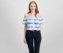 Lost + Wander Bora Bora Off-the-Shoulder Top, Blue/White