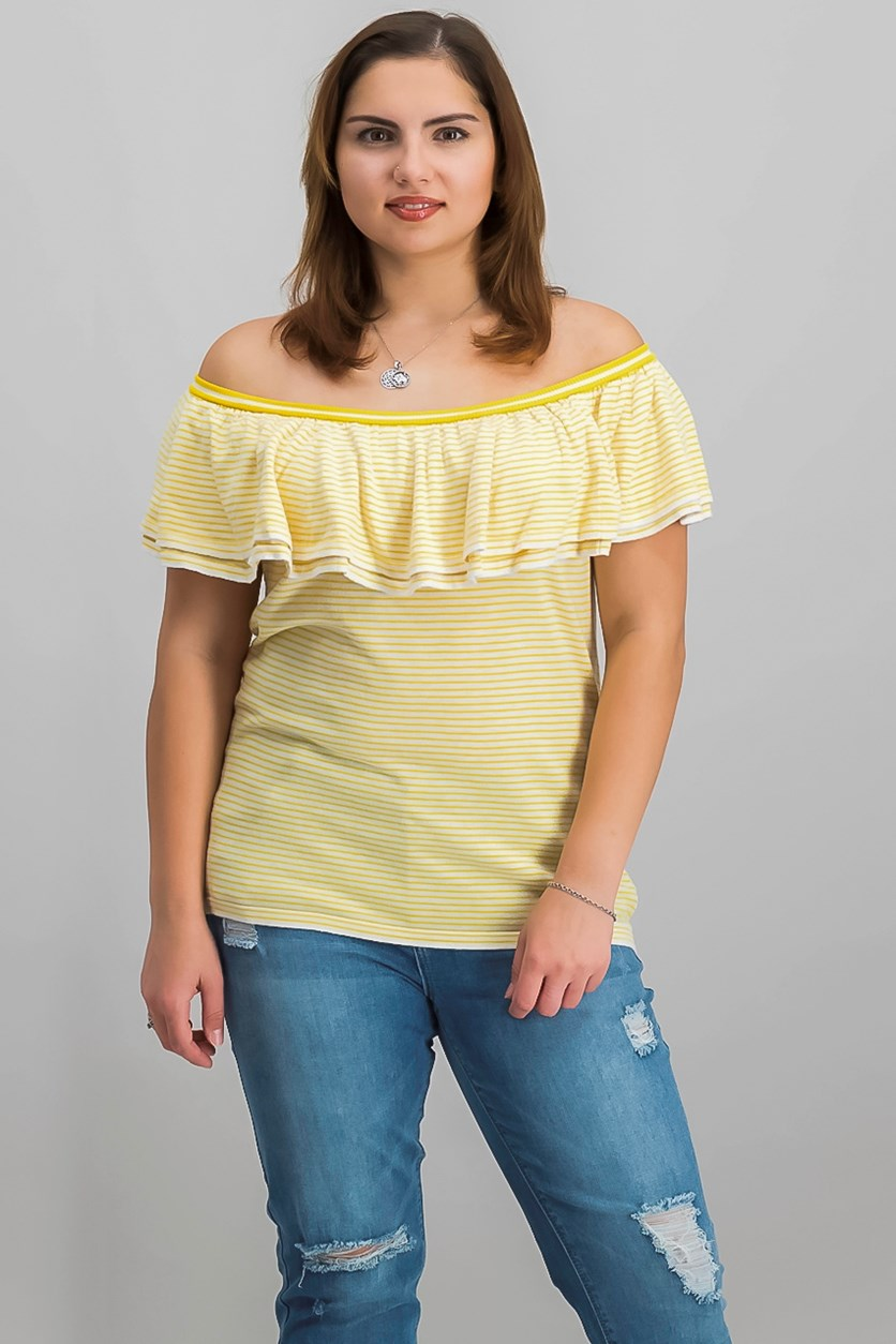 Striped Ruffled Knit Top, Cream/Saffron Yellow