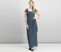Alex Evenings Cold-Shoulder Draped Metallic Gown, Smoke