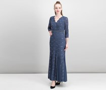 Alex Evenings Petite Embellished Lace Mermaid Gown, Navy