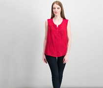 Style & Co Petite Embroidered Split-neck Top, New Red Amore