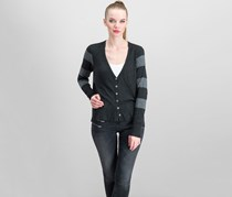 Eileen Fisher Women's V-Neck Striped Cardigan, Charcoal