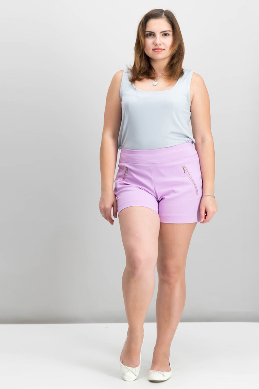 Women's Zipper-Detail Shorts, Pale Orchid