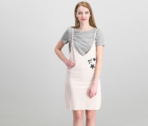 Mink Pink Patch Slip Twofer Dress, Pink/Grey