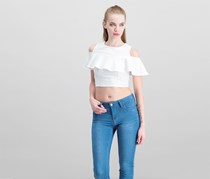 The Edit By Seventeen Juniors' Ruffled Cold-Shoulder Crop Top, White
