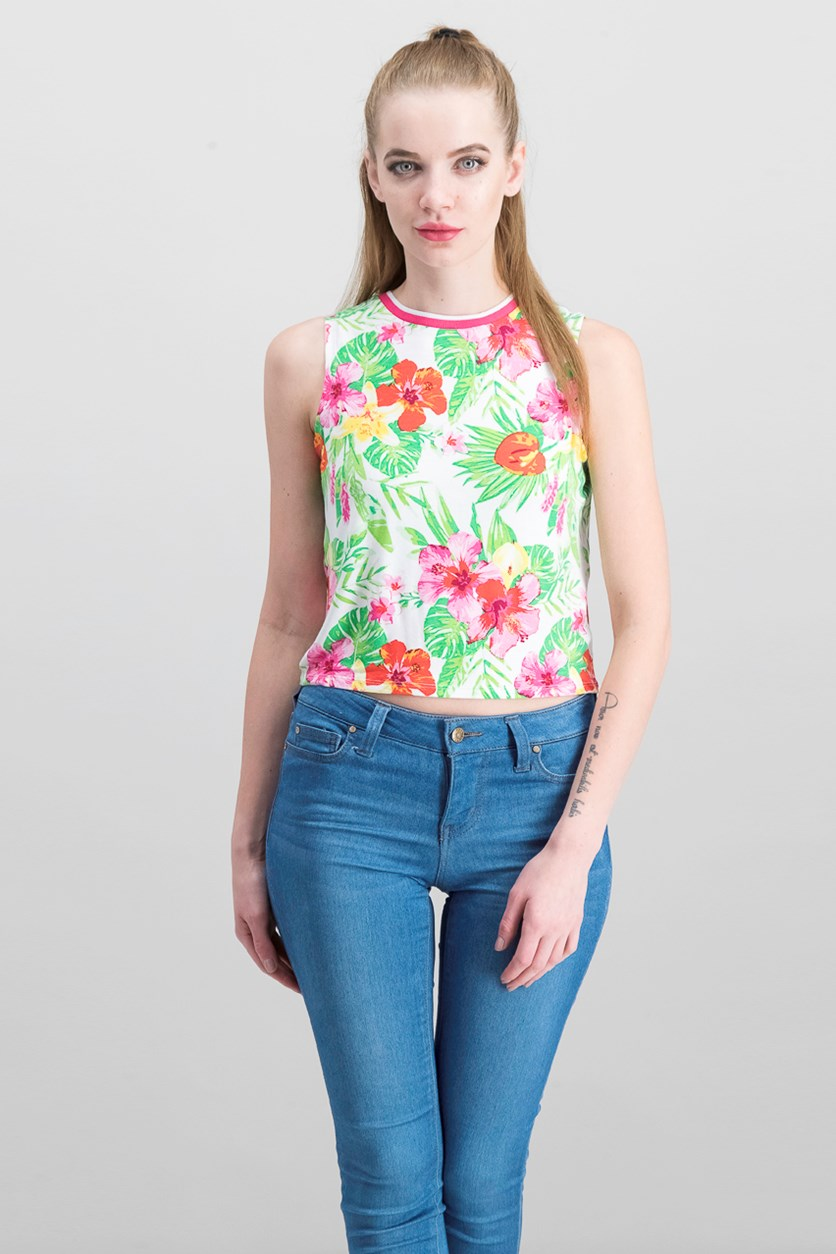 Printed Crop Tank Top, Tropical