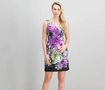 Connected Petite Sleeveless Floral-Print Dress, Purple Combo
