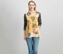 John Mark Women's Three-quarter-sleeve Embroidered Top, Yellow combo
